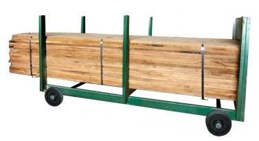The Model 100-H is a heavy-duty one-piece lumber cart with rigid uprights. Each cart is equipped with 12